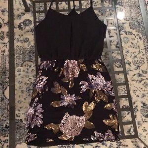 T-strap back mock sequin skirt dress